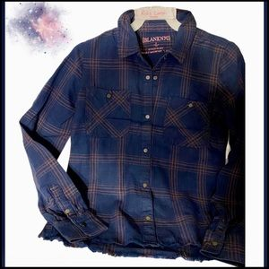 NWT BLANKNYC KIDS SNAP NAVY & PINK PLAID Shirt L